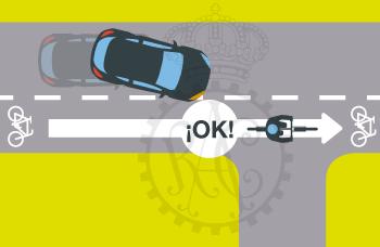 vehículo reducir marcha hasta ciclista supere cruce