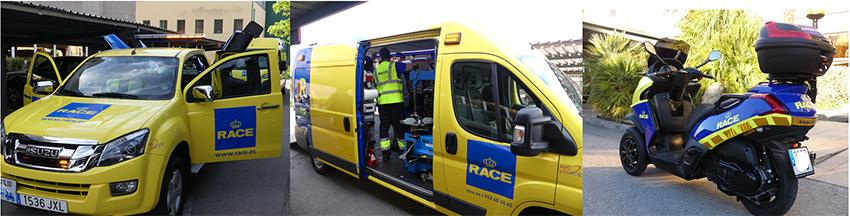 Vehículos de asistencia del RACE